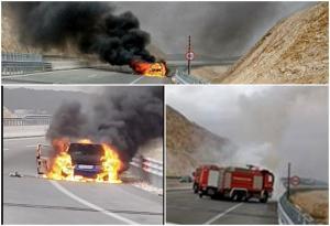 Ήπειρος: Αυτοκίνητο έγινε στάχτη στην εθνική οδό! [pics]