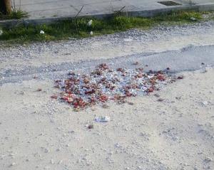Λάρισα: Οι λακκούβες έκλεισαν με σπασμένα πιάτα και γαρύφαλλα μπουζουξίδικου – Απίστευτες εικόνες σε δρόμο [pics]