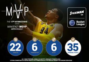Ο Μακένζι Μουρ Stoiximan.gr MVP της 17ης αγωνιστικής