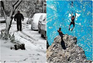 Καιρός… του γιατρού! Στον Βορρά… winter is coming και στο Νότο καλοκαιράκι!