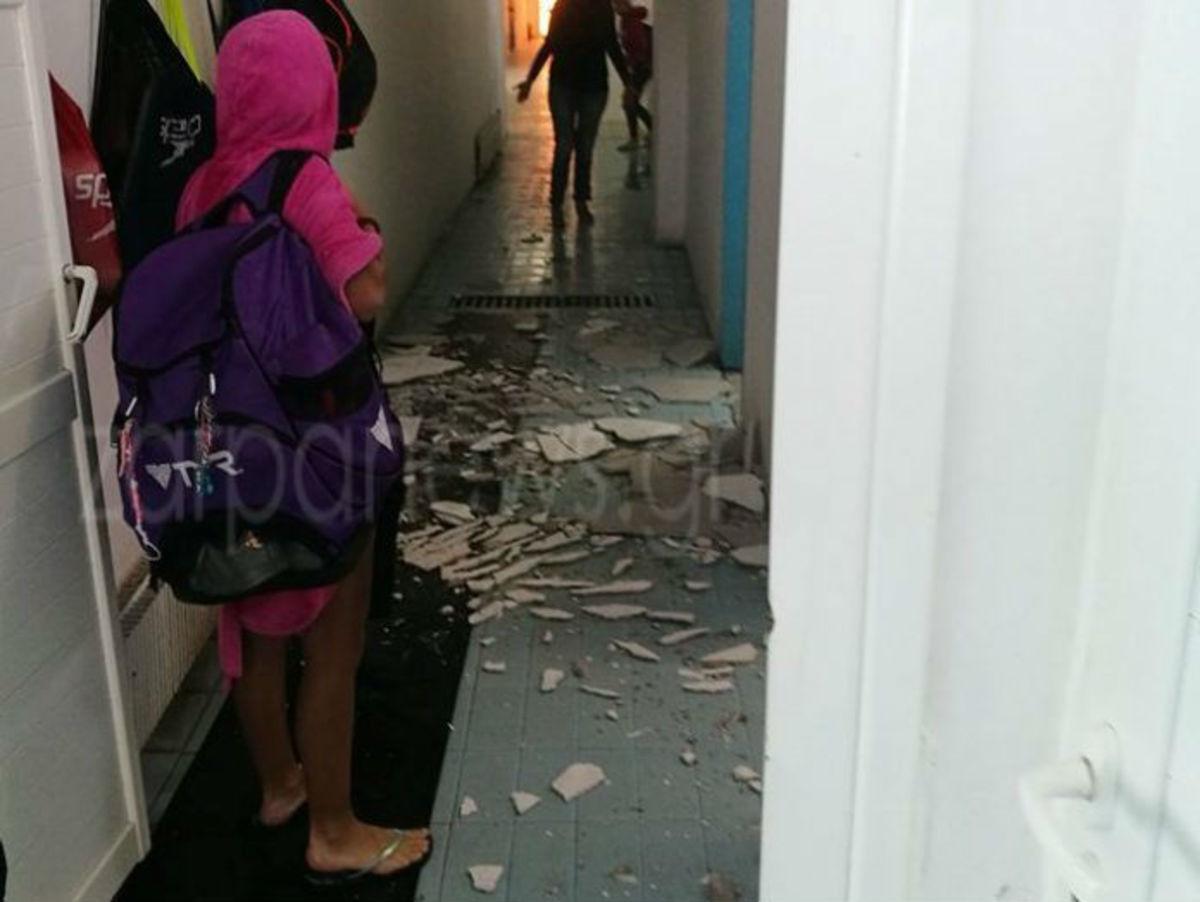 Χανιά: Πανικός στο κολυμβητήριο! Κατέρρευσε τμήμα της οροφής ενώ ήταν γεμάτο παιδιά [pics] | Newsit.gr