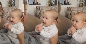 Η ξεκαρδιστική αντίδραση ενός μωρού όσο η μαμά του τραγουδά