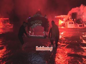 Μαγικές εικόνες στο Λουτράκι – Ο Επιτάφιος μέσα στο νερό [vid]