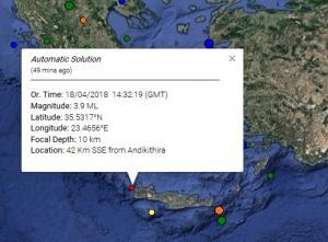 Σεισμός κοντά στα Αντικύθηρα