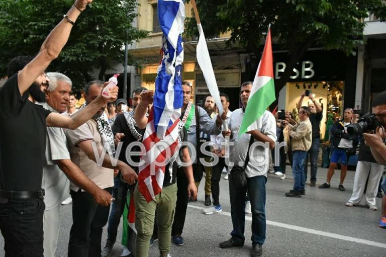 Θεσσαλονίκη: Έκαψαν σημαίες του Ισραήλ και των ΗΠΑ [pics, vid] | Newsit.gr