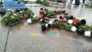 Θεσσαλονίκη: Ζημιές και σε περίπτερα της ΔΕΘ από την καταιγίδα – Καταστροφές στην ανθοέκθεση