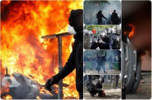 Πρωτομαγιά: Ξύλο, δακρυγόνα και φωτιές στο Παρίσι! 200 προσαγωγές και καταστροφές [vids, pics]