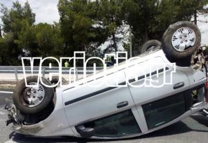 Βέροια: Τούμπαρε το αυτοκίνητο στην Εγνατία Οδό – Στο νοσοκομείο ο τραυματισμένος οδηγός [pics]