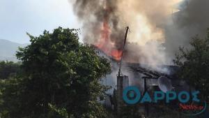 Καλαμάτα: Η φωτιά έκανε στάχτη το σπίτι – Ένα σύννεφο καπνού απλώθηκε στον ουρανό της πόλης [pics, vid]