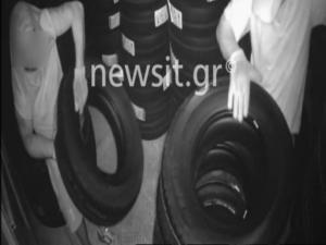 Βίντεο-ντοκουμέντο: Η στιγμή που οι ληστές στο Πικέρμι «ξαφρίζουν» την αποθήκη ελαστικών
