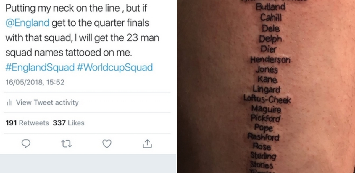 Μουντιάλ 2018: «Τρελός» οπαδός της Αγγλίας! Έκανε τατουάζ όλη την Εθνική [pics]