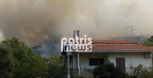 Φουντώνει η φωτιά στην Αμαλιάδα – Εκκενώθηκε το χωριό Δαφνιώτισσα