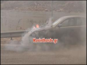 Φωτιά σε εν κινήσει αυτοκίνητο στην Αθηνών – Κορίνθου [pic]