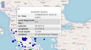 Σεισμός ΤΩΡΑ αισθητός σε Τρίκαλα και Λάρισα