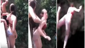 Καφριλίκι! Φίλη… φίδι, σπρώχνει κοπέλα που φοβάται να πηδήξει – Σοκαριστικό video