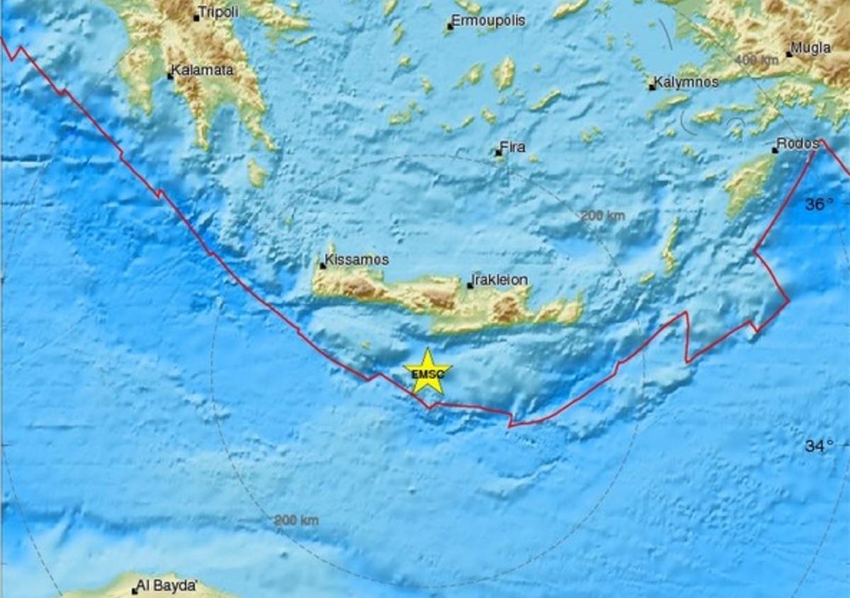 Σεισμός 3,8 ρίχτερ νότια της Κρήτης