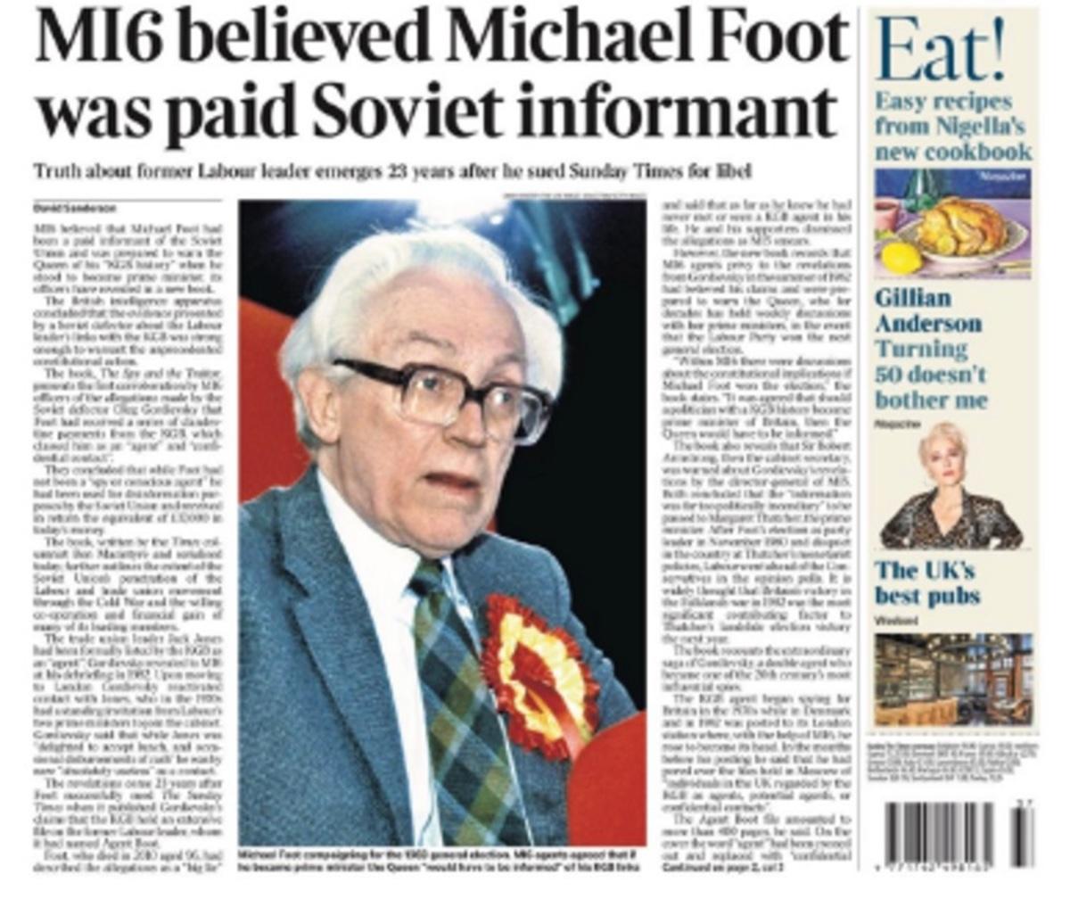 «Σεισμός» στην Αγγλία! «Πράκτορας της KGB ο Μάικλ Φουτ»