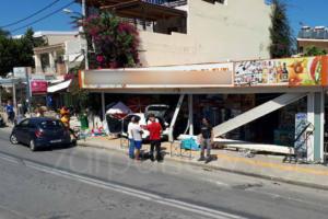 Χανιά: «Μπούκαραν» σε μίνι μάρκετ μαζί… με το αυτοκίνητο [pics]