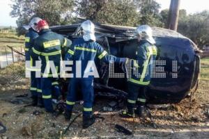 Ηλεία: Δραματικός απεγκλωβισμός οδηγού μετά από τροχαίο – Μια άμορφη μάζα σιδερικών το αυτοκίνητό του [pics]