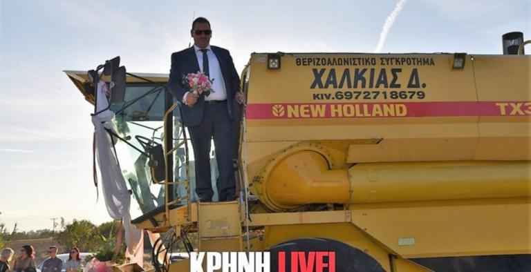 Πρώην αντιδήμαρχος έφτασε στην εκκλησία γαμπρός με… αλωνιστική μηχανή! – video | Newsit.gr