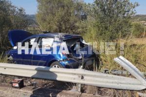 """Ηλεία: Η μπάρα """"σούβλισε"""" το αυτοκίνητο σε φοβερό τροχαίο – Σώθηκε η οδηγός για λίγα εκατοστά [pics]"""