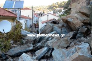 Λέσβος: Μεγάλη κατολίσθηση στο Πλωμάρι – Βράχοι έπεσαν σε σπίτια! Σοκαριστικές εικόνες