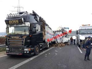 Τροχαίο Αθηνών – Κορίνθου: Συγκρούστηκαν νταλίκες και διακόπηκε η κυκλοφορία – Οι πρώτες εικόνες [pics]