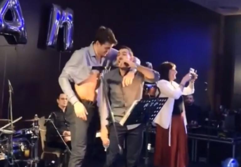 Ο Σλούκας έπιασε… μικρόφωνο και ο Ομπράντοβιτς το χορό! videos | Newsit.gr