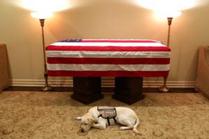 Τζορτζ Μπους: Η συγκινητική φωτογραφία μπροστά από το φέρετρό του