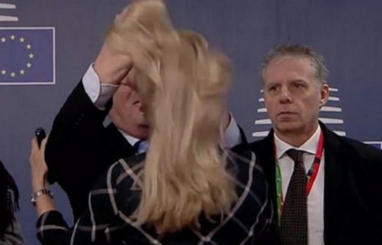 Ο Γιούνκερ… ξεμάλλιασε γυναίκα και μετά τη φίλησε, στη Σύνοδο Κορυφής! Video | Newsit.gr