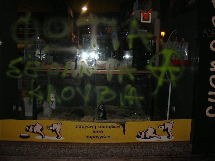 Θεσσαλονίκη: Επιθέσεις σε pet shops από αναρχικούς – Το μήνυμα και οι εικόνες που άφησαν πίσω [pics] | Newsit.gr