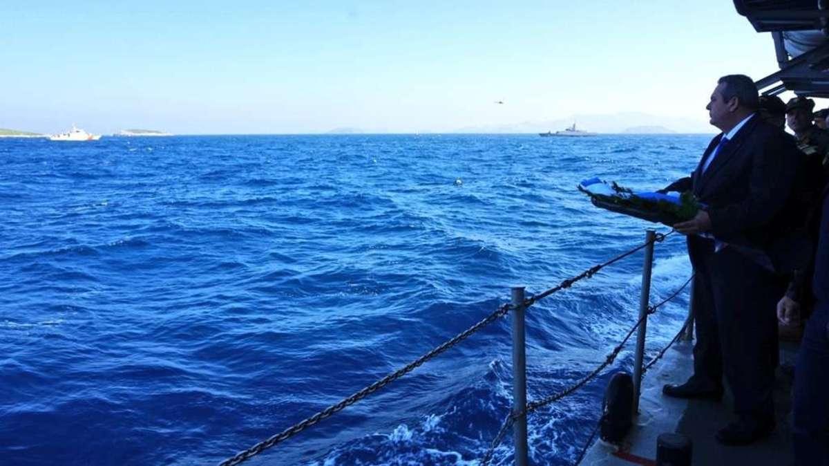 Τουρκική πρόκληση εκτός ορίων στα Ίμια! Φρεγάτα προσπάθησε να μπλοκάρει τη ρίψη στεφάνου του Καμμένου