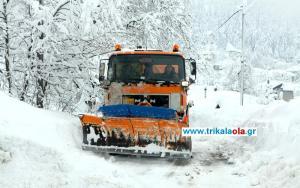Τρίκαλα: Σφοδρή χιονόπτωση στα ορεινά – Καταιγίδες στα πεδινά [pics]