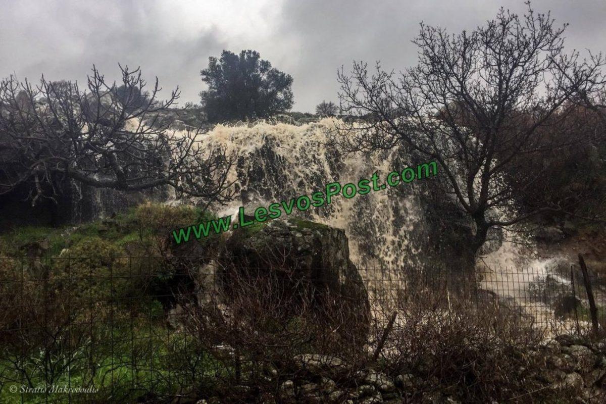 Λέσβος: Η στιγμή που ορμητικός χείμαρρος γίνεται καταρράκτης – Μετρούν ζημιές αγρότες και κτηνοτρόφοι [vid]