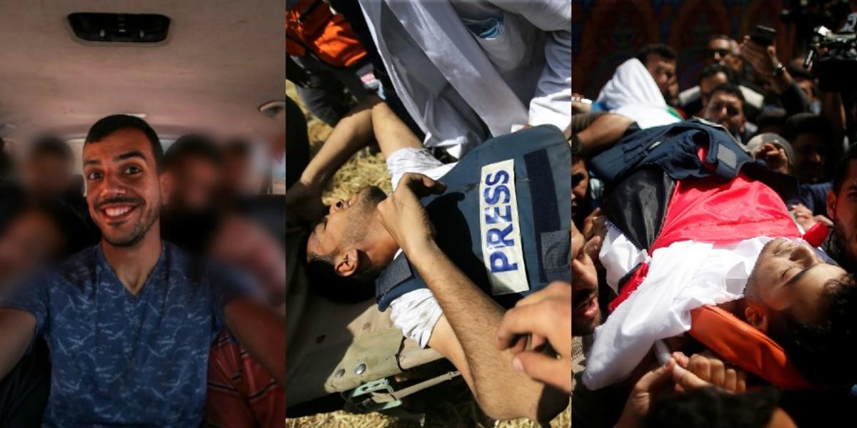 """Σκληρές εικόνες: Οργή και θρήνος στην κηδεία του Παλαιστίνιου δημοσιογράφου! Τυλιγμένος με σημαία και με το γιλέκο του που έγραφε """"Press""""! Τον εκτέλεσαν Ισραηλινοί στρατιώτες!"""