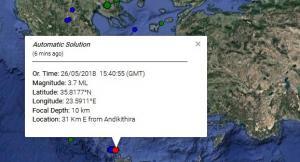 Σεισμός βόρεια της Κρήτης