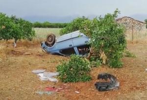 Αργολίδα: Ανατροπή αυτοκινήτου με γυναίκα και μικρό παιδί – Έφυγε από το δρόμο και κατέληξε σε χωράφι [vid]