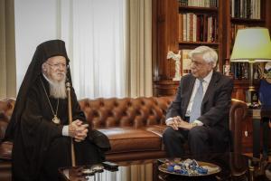 Βαρθολομαίος: Για τους Έλληνες στρατιωτικούς συζήτησε με τον Ιερώνυμο, για το περιβάλλον με Παυλόπουλο
