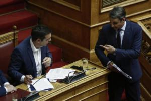 Τσίπρας – Μητσοτάκης: Αρένα η Βουλή – Κούνησαν ταυτότητες και κοντραρίστηκαν για τις συζύγους τους – Τα άδεια έδρανα που σχολιάστηκαν