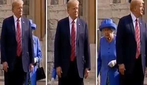 """Αντίο πρωτόκολλο! Ο Τραμπ το έσπασε τρεις φορές και """"πάγωσε"""" τη βασίλισσα Ελισάβετ – video"""