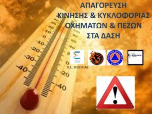 Δήμος Θηβαίων: Σε ποιες περιοχές απαγορεύεται η κυκλοφορία οχημάτων και πεζών, λόγω κινδύνου εκδήλωσης πυρκαγιάς