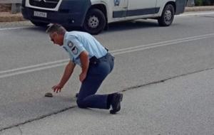 Καστοριά: Η εικόνα που έκανε αστυνομικό να σκύψει στη μέση του δρόμου – Οι φωτογραφίες που σαρώνουν το διαδίκτυο [pics]