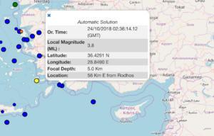 Σεισμός 3,8 Ρίχτερ στη Ρόδο