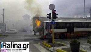 Πανικός στο Πικέρμι! Λεωφορείο του ΚΤΕΛ τυλίχθηκε στις φλόγες! – video
