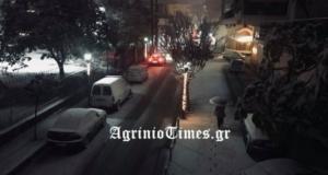 Καιρός: Χιονίζει στο Αγρίνιο – video