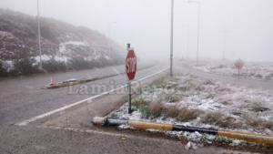 Καιρός: Χιόνια στη Λαμία – Πού χρειάζονται αλυσίδες