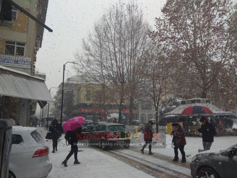 Καιρός: Σφοδρή χιονόπτωση στην Καρδίτσα – video
