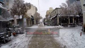 Καιρός: Στα λευκά ο νομός Καρδίτσας – video