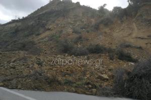 Χανιά: Το βουνό «κατέβηκε» στο δρόμο – Έκλεισε η εθνική οδός στο ύψος του Σταλού [pics, video]