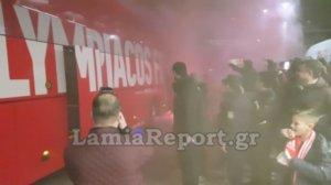 Ολυμπιακός: «Χαμός» στην άφιξη των Πειραιωτών στη Λαμία! [vid, pics]